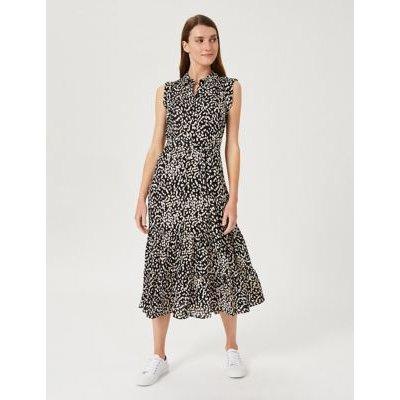 M&S Hobbs Womens Spot Print Sleeveless Midi Shirt Dress - 8 - Black Mix, Black Mix