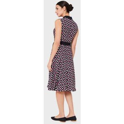 M&S Hobbs Womens Geometric Collared Midi Shirt Dress - 16 - Blue Mix, Blue Mix