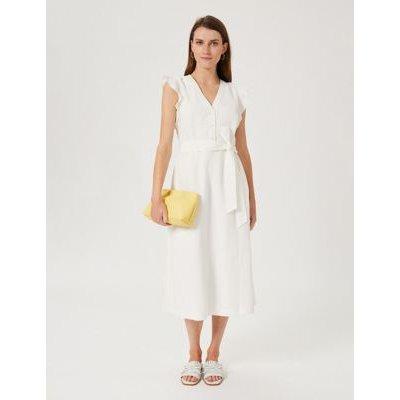 M&S Hobbs Womens Linen V-Neck Frill Sleeve Midi Swing Dress - 8 - Ivory, Ivory
