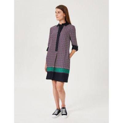 M&S Hobbs Womens Geometric Collared Knee Length Shift Dress - 16 - Blue Mix, Blue Mix