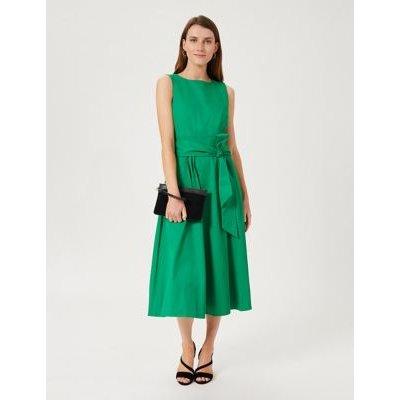 M&S Hobbs Womens Cotton Tie Front Midi Swing Dress - 8 - Green, Green