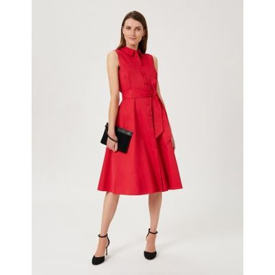 M&S Hobbs Womens Cotton Collared Sleeveless Midi Swing Dress - 8 - Pink, Pink