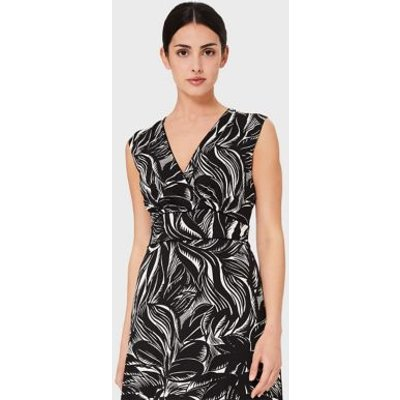 M&S Hobbs Womens Jersey Floral V-Neck Sleeveless Midi Dress - 8 - Black Mix, Black Mix