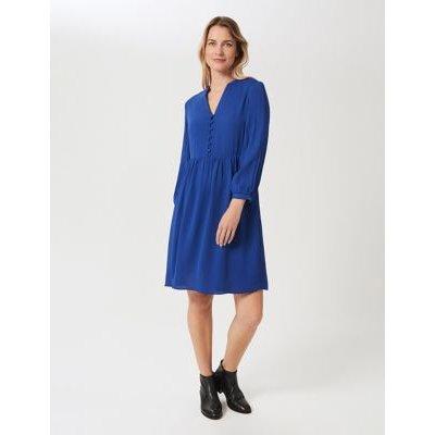M&S Hobbs Womens Crepe Collared Knee Length Smock Dress - 6 - Blue, Blue