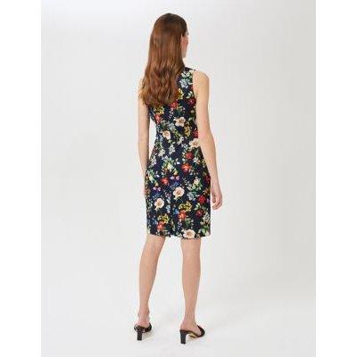 M&S Hobbs Womens Floral Sleeveless Knee Length Shift Dress - 16 - Blue Mix, Blue Mix