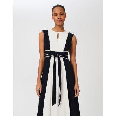 M&S Hobbs Womens Striped Tie Front Midi Swing Dress - 8 - Blue Mix, Blue Mix