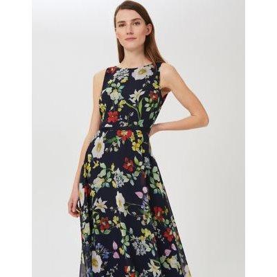 M&S Hobbs Womens Floral Sleeveless Midi Swing Dress - 8 - Blue Mix, Blue Mix