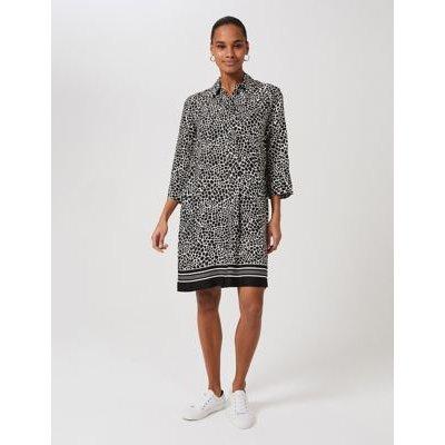 M&S Hobbs Womens Animal Print Knee Length Shift Dress - 8 - Black Mix, Black Mix
