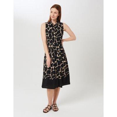 M&S Hobbs Womens Animal Print Sleeveless Midi Shirt Dress - 8 - Black Mix, Black Mix