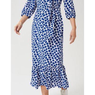 M&S Hobbs Womens Geometric Collared Midaxi Shirt Dress - 6 - Blue Mix, Blue Mix