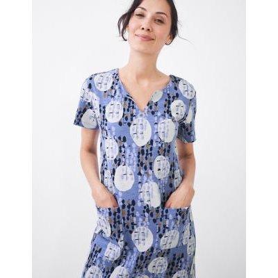 M&S White Stuff Womens Jersey Spot Print Knee Length Shift Dress - 6 - Blue Mix, Blue Mix