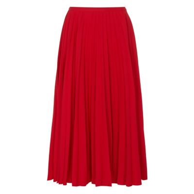 M&S Finery London Womens Crepe Pleated Midi Skirt - 10 - Red, Red,Grey