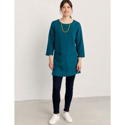 M&S Seasalt Cornwall Womens Scoop Neck 3/4 Sleeve Tunic with Cotton - 10 - Blue, Blue