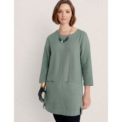 M&S Seasalt Cornwall Womens 3/4 Sleeve Tunic with Cotton - 8 - Green, Green