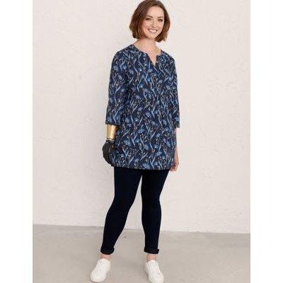 M&S Seasalt Cornwall Womens Organic Cotton Floral Notch Neck Tunic - 10 - Blue Mix, Blue Mix