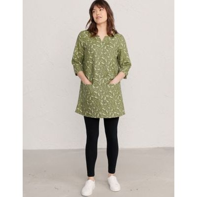 M&S Seasalt Cornwall Womens Cotton Bird Print Notch Neck Tunic - 8 - Green Mix, Green Mix