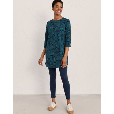 M&S Seasalt Cornwall Womens Pure Cotton Round Neck 3/4 Sleeve Tunic - 10 - Teal, Teal