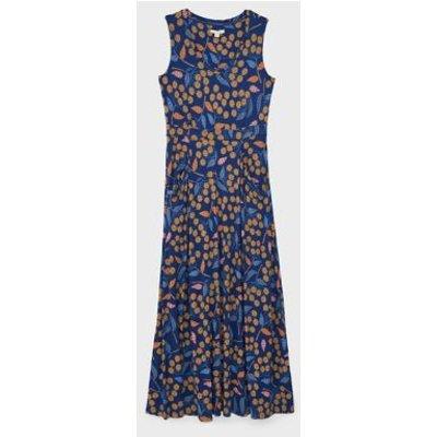 M&S White Stuff Womens Jersey Floral V-Neck Maxi Waisted Dress - 6 - Blue Mix, Blue Mix