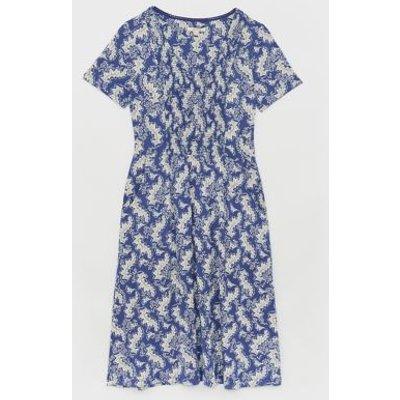 M&S White Stuff Womens Jersey Leaf Print V-Neck Midi Tea Dress - 6 - Blue, Blue