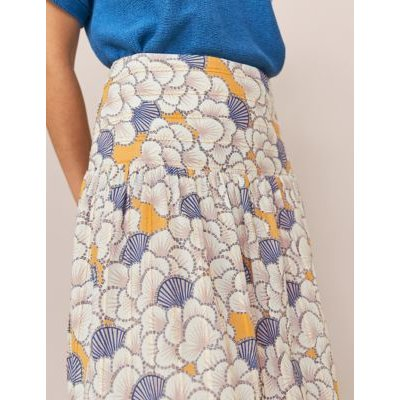M&S White Stuff Womens Pure Cotton Floral Midi A-Line Skirt - 8 - Yellow Mix, Yellow Mix
