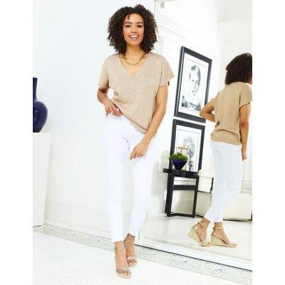 M&S Sosandar Womens Cotton Metallic V-Neck Short Sleeve Top - XS - Rose Mix, Rose Mix