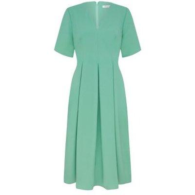 M&S Finery London Womens V-Neck Short Sleeve Midi Shift Dress - 8 - Duck Egg, Duck Egg,Stone