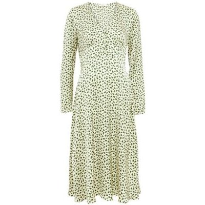 M&S Finery London Womens Printed V-Neck Button Detail Midi Tea Dress - 10 - Green Mix, Green Mix
