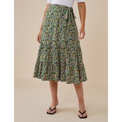 M&S Finery London Womens Floral Print Midi Wrap Skirt - 18 - Green Mix, Green Mix