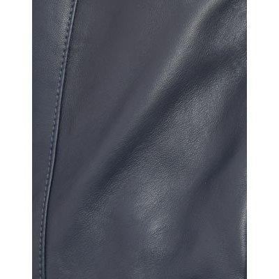 M&S Jaeger Womens Leather Collarless Biker Jacket - 6 - Navy, Navy