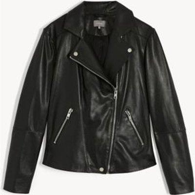 M&S Jaeger Womens Leather Biker Jacket - 8 - Black, Black,Navy