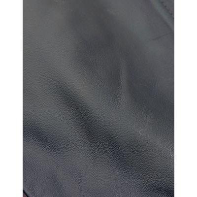 M&S Jaeger Womens Leather Collarless Biker Jacket - 8 - Navy, Navy