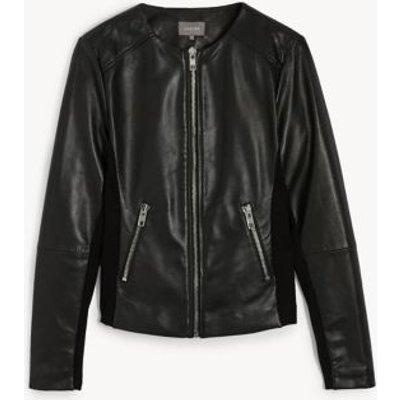 M&S Jaeger Womens Leather Collarless Biker Jacket - 8 - Black, Black