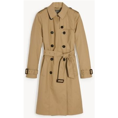 M&S Jaeger Womens Pure Cotton Double Breasted Trench Coat - 12 - Stone, Stone