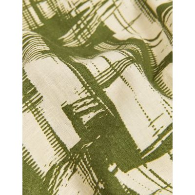 M&S Jaeger Womens Pure Linen Printed Belted Waisted Dress - 10 - Khaki Mix, Khaki Mix