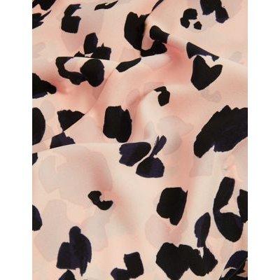 M&S Jaeger Womens Animal Print Round Neck Waisted Dress - 6 - Natural Mix, Natural Mix