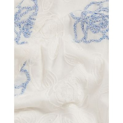 M&S Jaeger Womens Pure Cotton Embroidered Waisted Dress - 16 - White Mix, White Mix