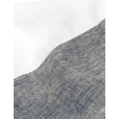 M&S Jaeger Womens Pure Linen V-Neck Shift Dress - 18 - Navy/White, Navy/White