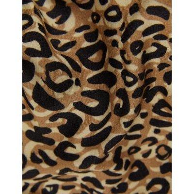 M&S Jaeger Womens Jersey Animal Print Midi Wrap Dress - Brown Mix, Brown Mix