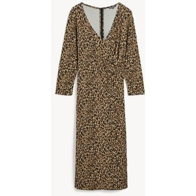 M&S Jaeger Womens Jersey Animal Print Midi Wrap Dress - XS - Brown Mix, Brown Mix