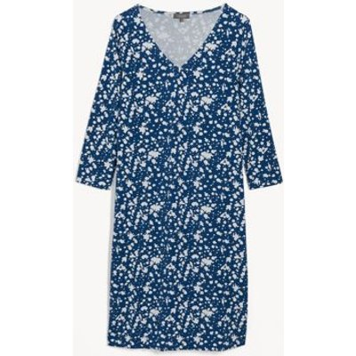 M&S Jaeger Womens Jersey Printed V-Neck Shift Dress - XS - Blue Mix, Blue Mix