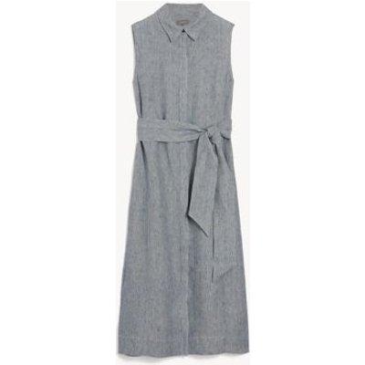 M&S Jaeger Womens Pure Linen Striped Belted Midi Shirt Dress - 6 - Navy/White, Navy/White