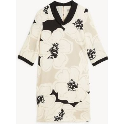 M&S Jaeger Womens Floral Collared Knee Length Shift Dress - 8 - Ivory Mix, Ivory Mix