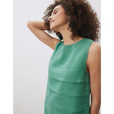 M&S Jaeger Womens Pure Linen Knee Length Shift Dress - 18 - Green, Green