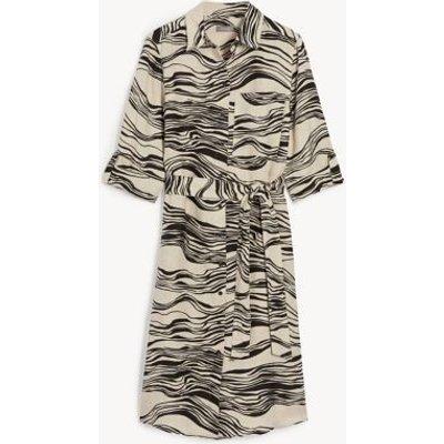 M&S Jaeger Womens Pure Linen Printed Knee Length Shirt Dress - 8 - Natural Mix, Natural Mix