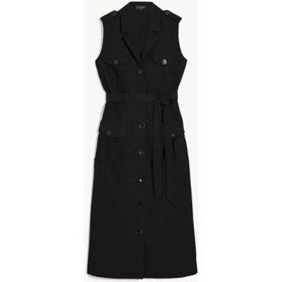 "M&S Jaeger Womens Tencelâ""¢ Tie Front Midi Shirt Dress - 6 - Black, Black"