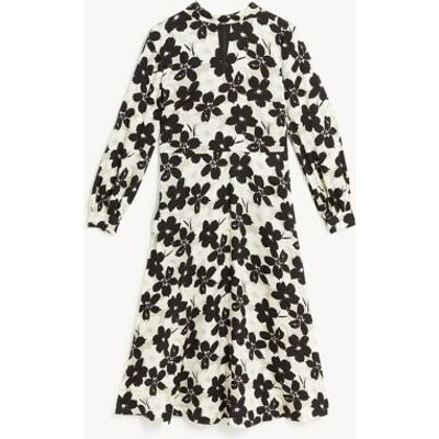 M&S Jaeger Womens Floral High Neck Midi Waisted Dress - 8 - Ivory Mix, Ivory Mix
