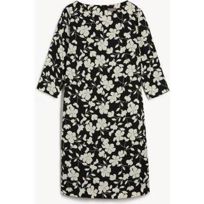 M&S Jaeger Womens Floral Knee Length Shift Dress - 6 - Black/White, Black/White