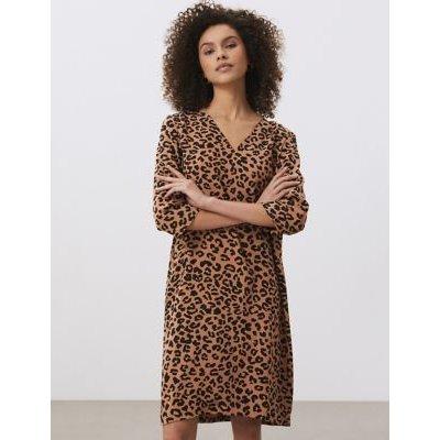 M&S Jaeger Womens Pure Silk Animal Print V-Neck Shift Dress - 6 - Tan, Tan