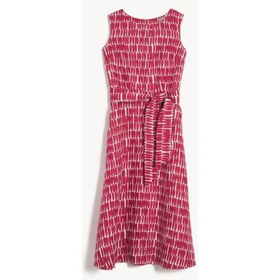 M&S Jaeger Womens Pure Linen Printed Belted Midi Swing Dress - 6 - Hot Pink, Hot Pink