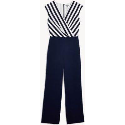 M&S Jaeger Womens Silk Striped Sleeveless Wrap Jumpsuit - 6 - Navy/White, Navy/White